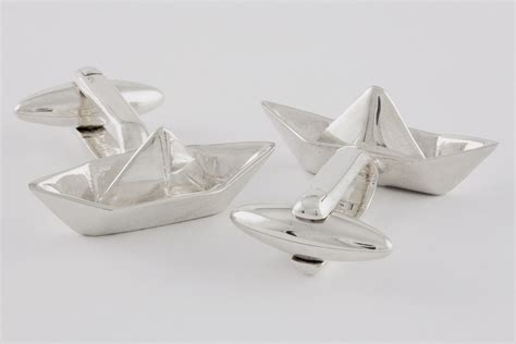 Origami Boot - origami boat cufflinks handcrafted from sterling silver