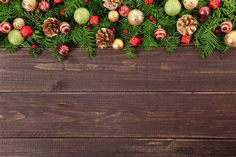 christmas decoration on wooden floor photo free download