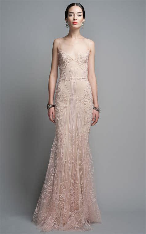 zac posen evening gown in pink blush lyst