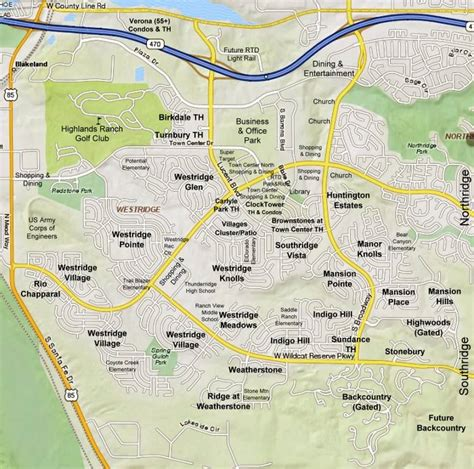 highlands ranch colorado map westridge subdivisions map and list highlands ranch