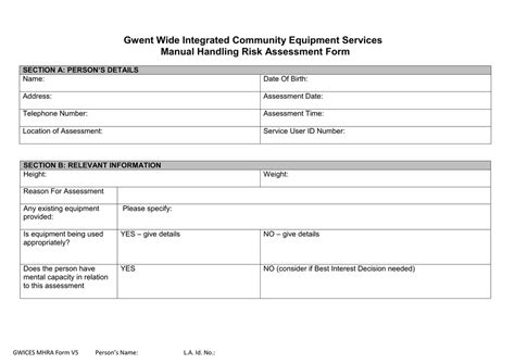 manual handling assessment form template generous nhs risk assessment template photos exle