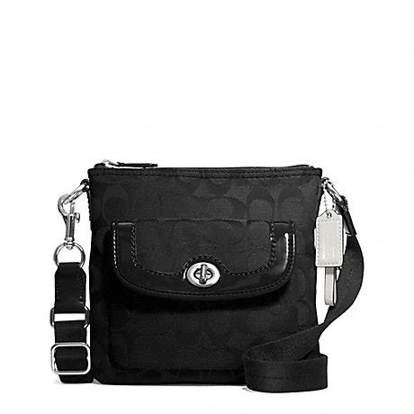 coach swing pack coach f49148 park signature swingpack silver black
