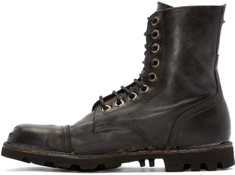Diesel 7291 Black Leather diesel black leather steel boots in black for lyst