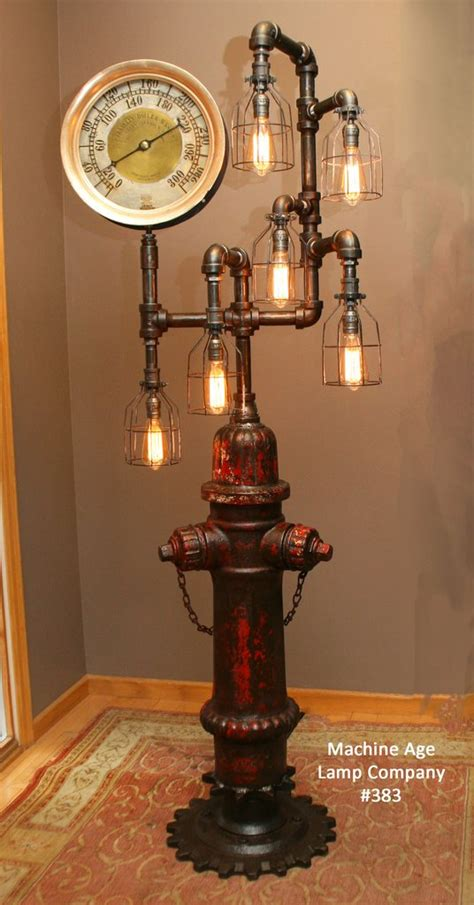 Rustic Garden Art - steampunk industrial antique fire hydrant floor lamp 383