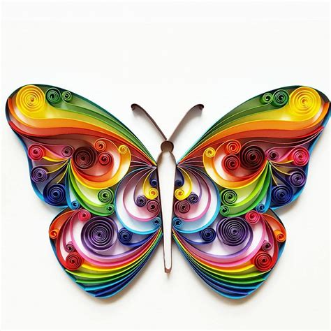 Handmade Artwork - quilled paper colourful butterfly handmade