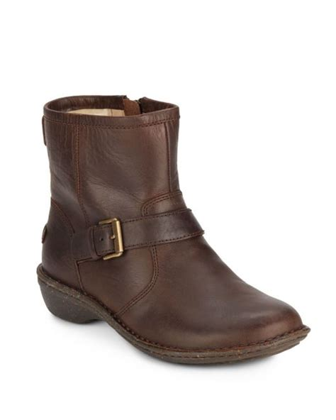 ugg bryce leather moto boots in brown lodge lyst