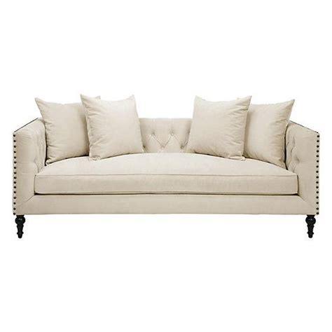 Nailhead Furniture by Tufted Nailhead Sofa Beige Linen On Tufted Sofa Thesofa