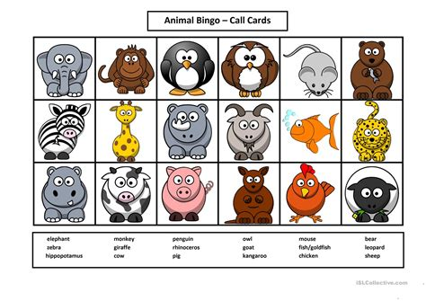 printable animal bingo games animal bingo worksheet free esl printable worksheets
