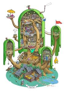 beautiful cutaway of jake and finn s treehouse from