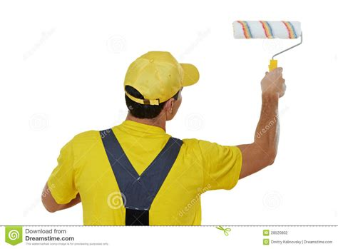 paint man painter man in uniform with paint roller stock photography