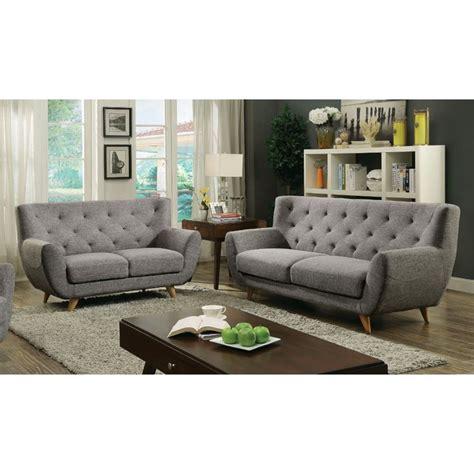 Light Gray Sofa Set Furniture Of America Malania Tufted 2 Sofa Set In