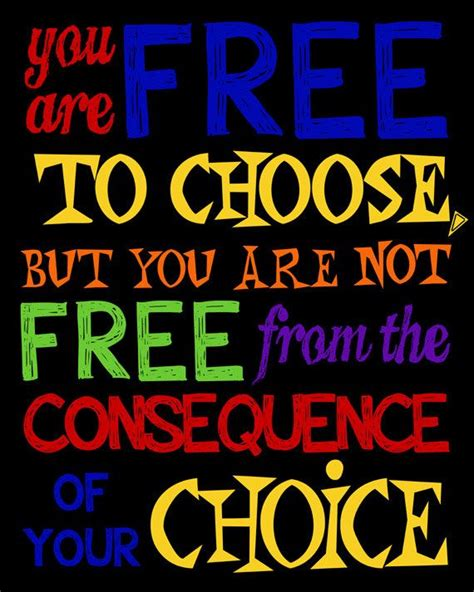 You Choose room decor classroom decor inspirational quote you are free to choose but you are not