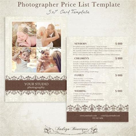 Photographer Price List Photography Package By Indigoboutique Photography Pricing Template