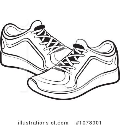 shoes clipart black and white pencil and in color