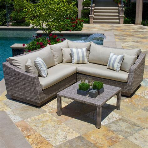 patio sectional cushions rst brands cannes 4 piece patio sectional seating set with