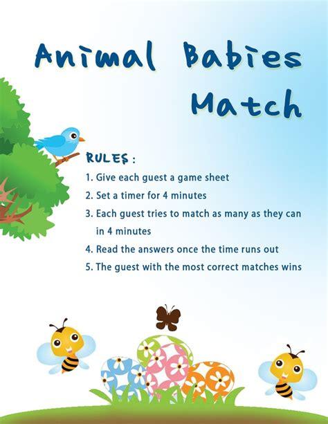 printable animal babies match game animal babies match baby shower game baby shower ideas