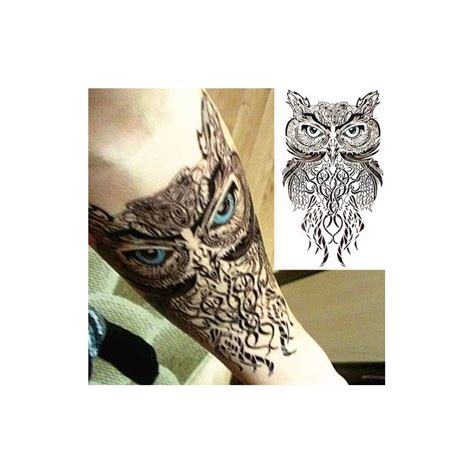 tatouage ephemere hibou tribal tempo tattoo