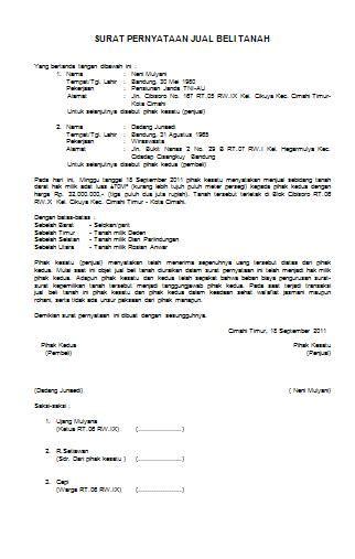 format surat pernyataan jual beli tanah contoh surat pernyataan jual beli tanah anekacontoh