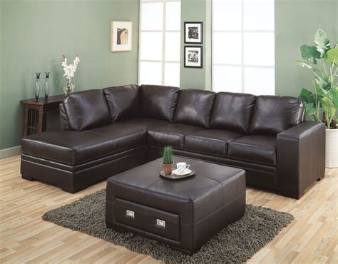 popular sectional dark brown leather couch