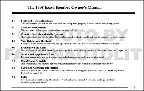 free online auto service manuals 1998 isuzu hombre space electronic valve timing 1998 isuzu hombre pickup truck owner s manual original rpo zn4