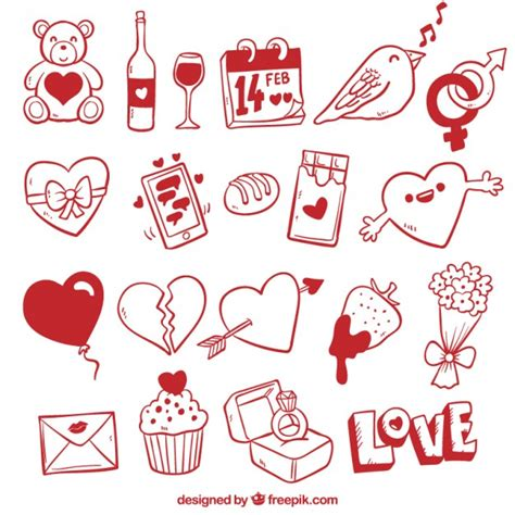 doodle valentines day valentines day elements in doodle style vector