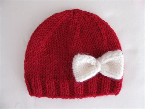 knitted newborn hats pattern knit preemie newborn hat bow baby beanie 8ply dk