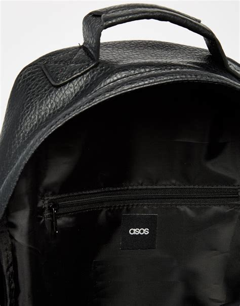 Aproncelemek Canvas And Synthetic Leather Black lyst asos backpack in black faux leather with zip detail in black for