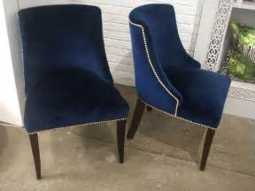 Brass Chairs Set Of Eight Dining Chairs With Blue Velvet Fabric And