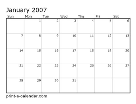 2007 monthly calendar download 2007 printable calendars