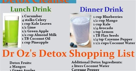 Dr Oz Detox Diet Water by Dr Oz 3 Day Detox Cleanse Shopping List Drink Recipes