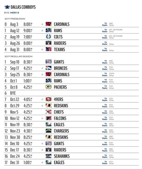 Section V Football Schedule by Dallas Cowboys 2017 Team Schedules Live Apps
