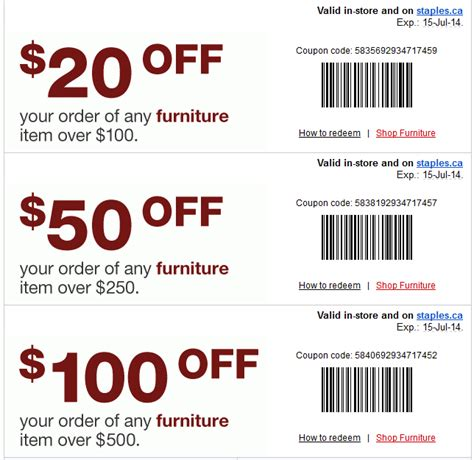 Furniture Discount Code by Staples Canada Coupon Save Up To 100 On Furniture Spend