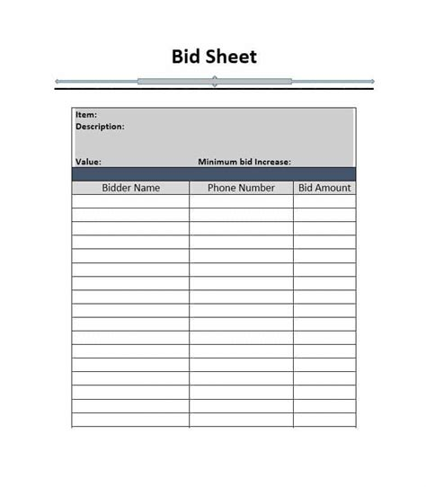silent auction bid sheets printable resumess franklinfire co