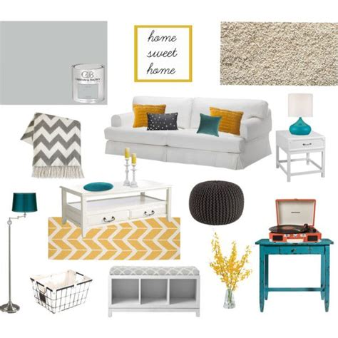 yellow and teal living room quot teal yellow and grey living room quot by missmelwrites on polyvore home decorating