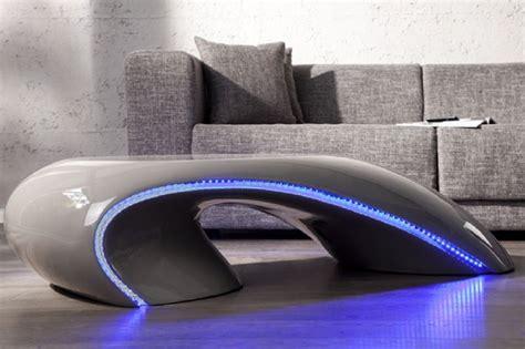 table basse design a led laque grise apolon