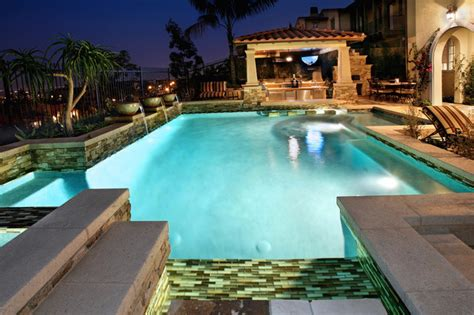 mediterranean pool pools overflow with finish options