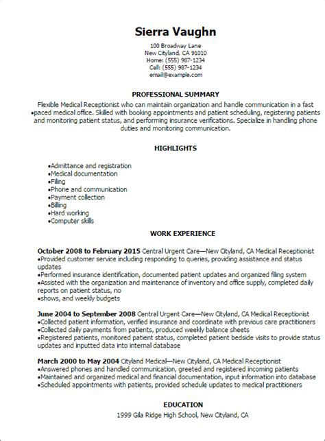 Resume Exles Of Receptionist Resume Receptionist Resume Sle Free Objectives For Receptionist Resume
