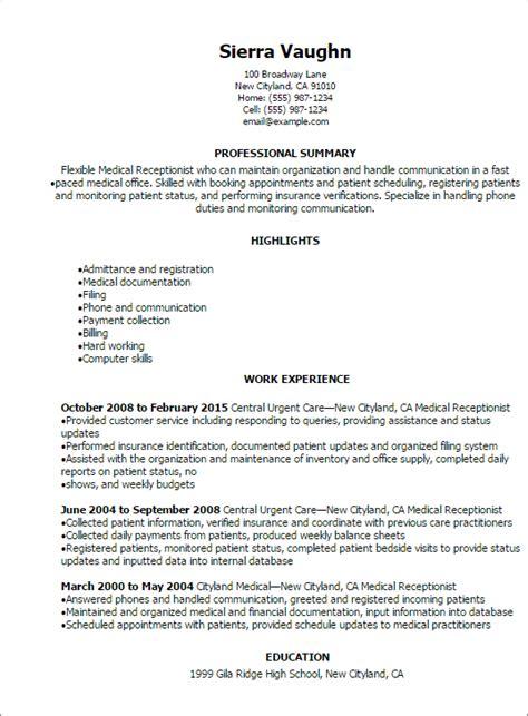 Job Resume Medical Receptionist Resume Sample Free