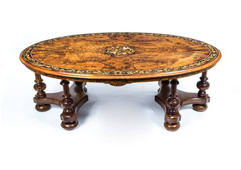 antique burr walnut marquetry oval coffee table circa