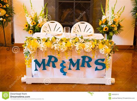 Mr And Mrs Bride And Groom Wedding Table Stock Photo
