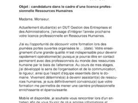 Exemple De Lettre De Motivation Université Licence Modele Lettre De Motivation Licence Pro Rh Document