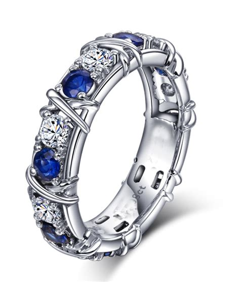 designer  carat alternating diamond  sapphire wedding