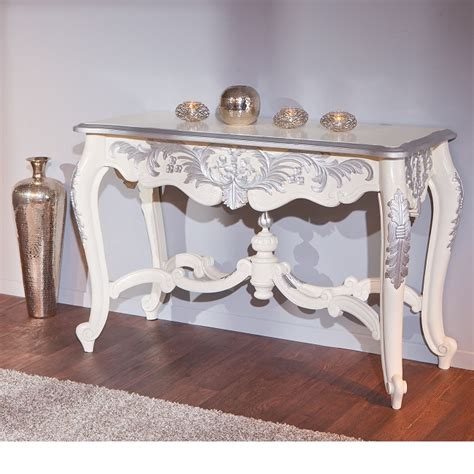white ornate console table baroque console table in ornate white and silver wood 25529