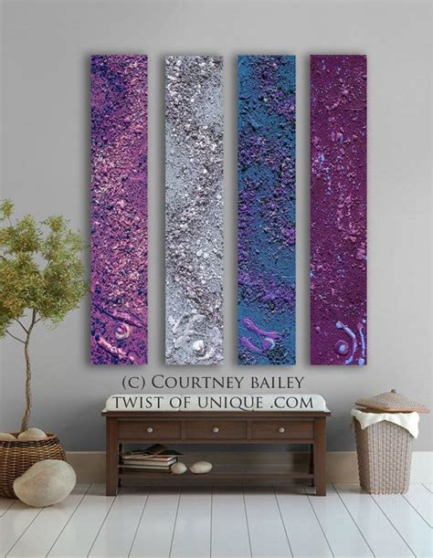 mauve home decor midnight sky abstract painting 4 panel custom