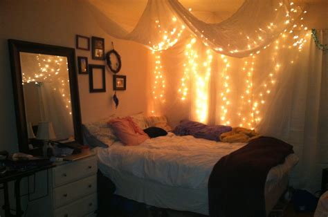 Teenage Girl Bedroom Design With Hanging White Canopy Bed Lights Bed