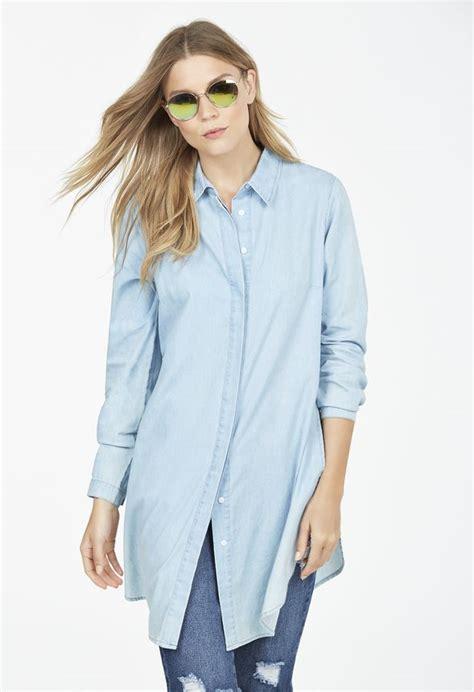 Diandra Chambray Tunic Shirt side slit chambray tunic shirt in chambray get great deals at justfab