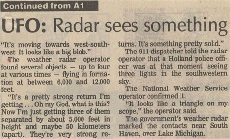 ufo research paper michigan ufo 1994 sighting with radar visual