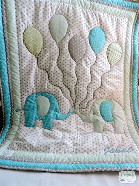 Elephant Applique Quilt Pattern by Custom Made Lovely Patchwork Nursery Bedding With Elephant