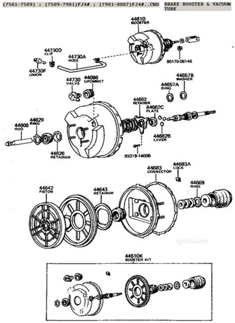 brake booster parts diagram fj40 fj55 bj40 fj60 fj62 brake booster illustration