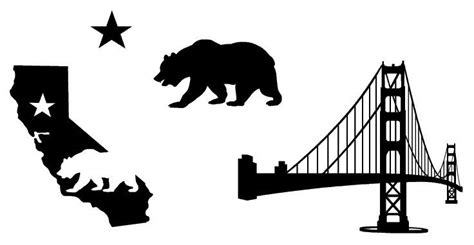 state of california and golden gate bridge vinyl decals car